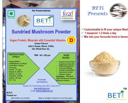 Improve immunity and buid up your body by adding two spoon mushroom powder in daily diet